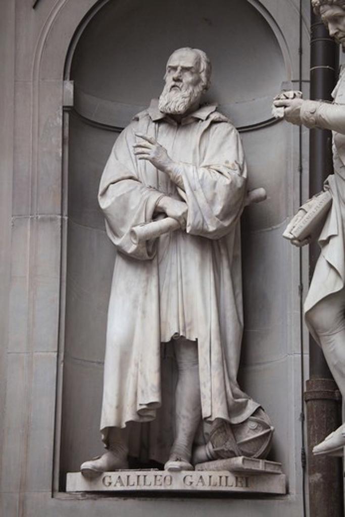 Stock Photo: 4285-24099 Italy, Tuscany, Florence, Palazzo Vecchio, Uffizi Gallery, Exterior, Galileo Sculpture Statue,