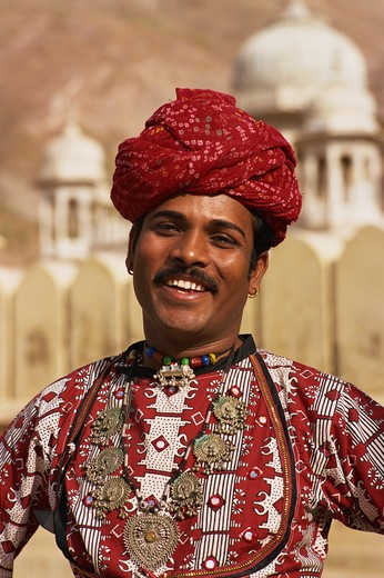 India, Jaipur, Gaitor, Man In Rajasthani Costume : Stock Photo