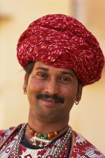Stock Photo: 4285-24363 India, Jaipur, Man In Rajasthani Costume
