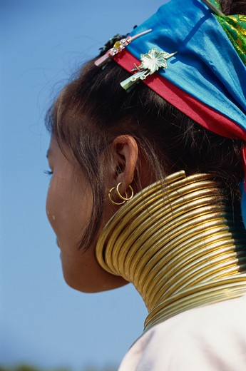 Stock Photo: 4285-24434 Thailand, Chiang Rai, Long Neck Hilltribes, Young Woman, Neck
