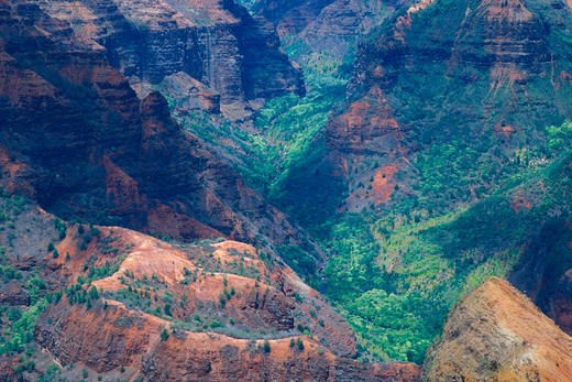 Stock Photo: 4285-2708 Evening light in Waimea Canyon (Grand Canyon of the Pacific), Waimea Canyon State Park, Kauai, Hawaii