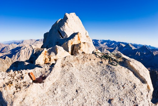 Stock Photo: 4285-2873 SPOT messenger on the summit of Bear Creek Spire, John Muir Wilderness, Sierra Nevada Mountains, California