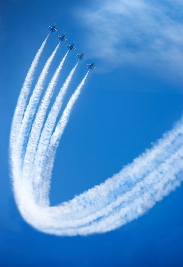 The U.S. Navy Blue Angels doing a synchronized maneuver. : Stock Photo
