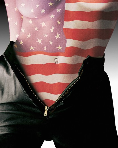 Stock Photo: 4285-3037 Girl naked torso and belly button, with American flag superimposed, wearing black leather shorts, zippered down.