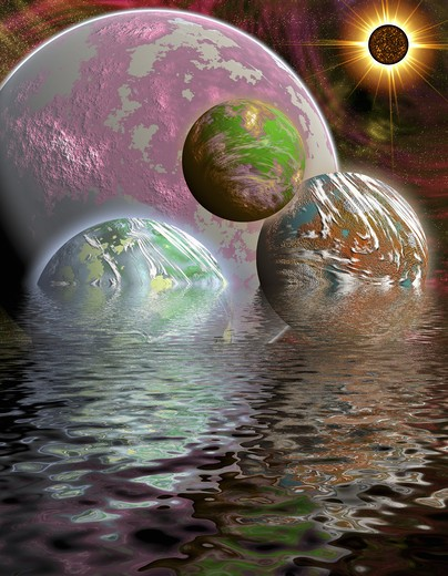 Stock Photo: 4285-3327 Surreal scene of colorful planets floating and half-submerged in ocean water with cosmos stars and sun eclipse in background.