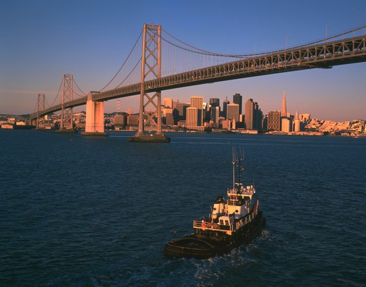 San Francisco Bay Bridge with city in the background : Stock Photo
