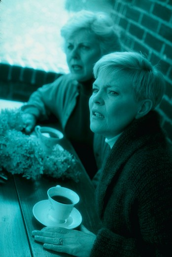 Two senior women having coffee at picnic table, looking in the distance, worried. : Stock Photo