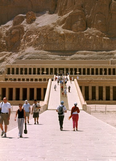 Stock Photo: 4285-4643 Temple Deir el Bahari of Queen Hatshepsut in Luxor, Egypt