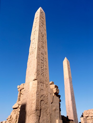 Stock Photo: 4285-4711 Obelisks at Temple of Karnak, Egypt