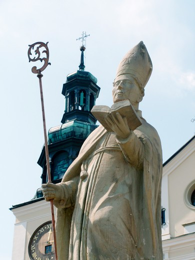 Stock Photo: 4285-4736 Statue by Bernadine monastery in Kalwaria Zebrzydowska of Poland the oldest Calvary in Poland