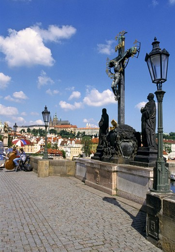 Stock Photo: 4285-4888 Calvary St Rood Statue on Charles Bridge in Prague Czech Republic