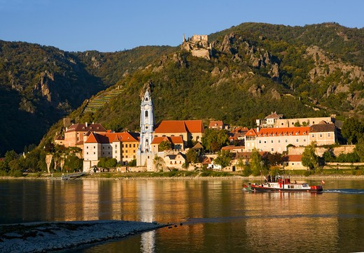 Durstein Blue Church and Castle on Danube River in Austria : Stock Photo