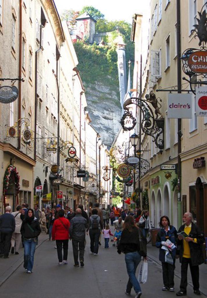 Getreidegasse street Salzburg Austria : Stock Photo