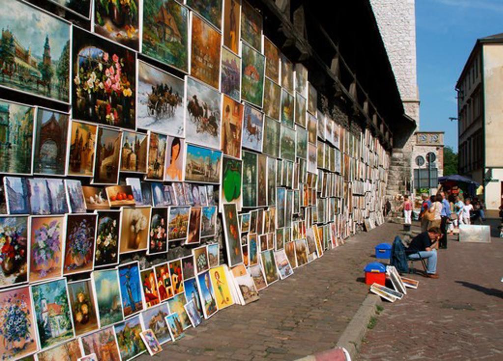 Poland Krakow, paintings by defensive walls at Pijarska Street : Stock Photo