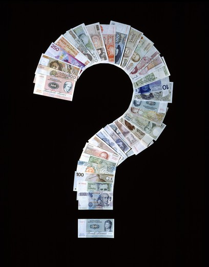 Stock Photo: 4285-6518 QUESTION MARK MADE WITH FORMER EUROPEAN CURRENCIES AND DANISH CROWN AND BRITISH POUND BANKNOTES