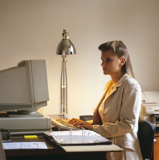 Stock Photo: 4285-6530 WOMAN WORKING AT COMPUTER