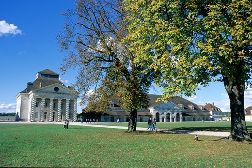 Stock Photo: 4285-6623 FRANCE JURA ARC-ET-SENANS SALINE ROYALE ROYAL SALTWORKS LAWN TREES AND DIRECTOR'S HOUSE