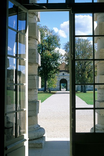 Stock Photo: 4285-6642 FRANCE JURA ARC-ET-SENANS SALINE ROYALE ROYAL SALTWORKS ENTRANCE DOOR OF THE DIRECTOR'S HOUSE AND ALLEY