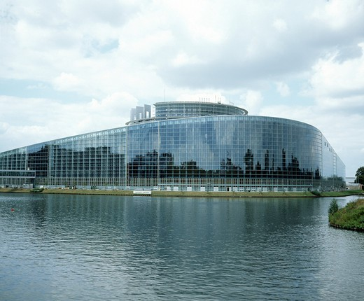 Stock Photo: 4285-7160 FRANCE ALSACE STRASBOURG NEW EUROPEAN PARLIAMENT BUILDING AND ILL RIVER