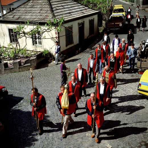 Stock Photo: 4285-7246 SGM SQUARE PORTUGAL MADEIRA ISLAND VILLAGE RELIGIOUS PROCESSION