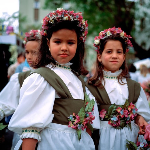Stock Photo: 4285-7339 SGM SQUARE PORTUGAL MADEIRA ISLAND FUNCHAL SPRING FLOWER FESTIVAL 2 LITTLE GIRLS WITH WHITE DRESS