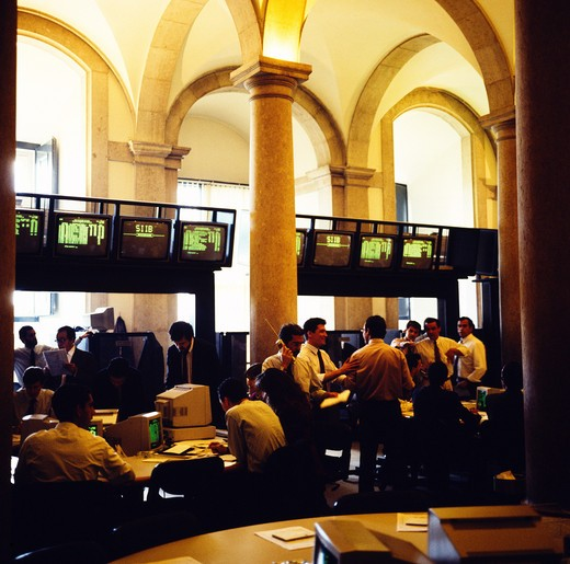Stock Photo: 4285-7368 PORTUGAL LISBON INSIDE STOCK EXCHANGE