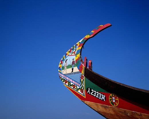 Stock Photo: 4285-7521 PORTUGAL AVEIRO LAGOON PROW OF A MOLICEIRO DECORATED FISHING BOAT