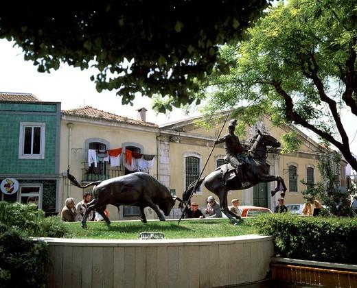PORTUGAL RIBATEJO VILA FRANCA DE XIRACORRIDA BULLFIGHT MONUMENT : Stock Photo