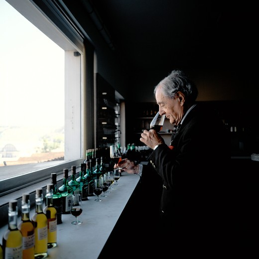 PORTUGAL PORTO VILLA NOVA DA GAIA MASTER TASTER FERNANDO NICOLAU O ALMEIDO SMELLING PORT WINE SAMPLES  AT FERREIRA LODGE : Stock Photo