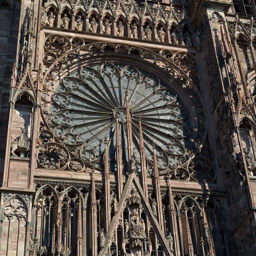 FRANCE ALSACE STRASBOURG CATHEDRAL'S  ROSE WINDOW : Stock Photo