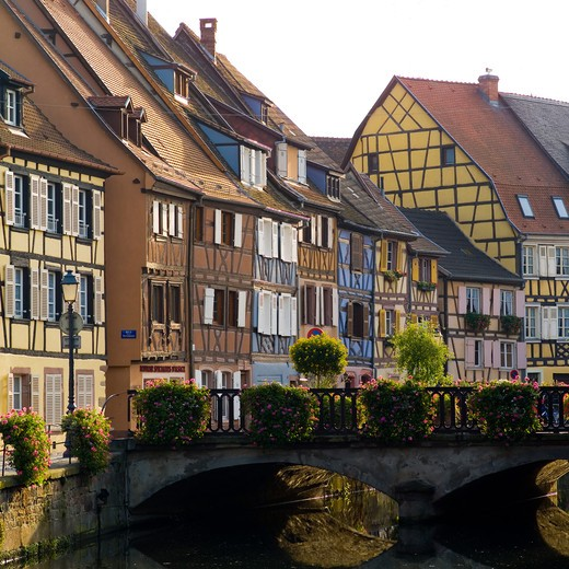 Stock Photo: 4285-8263 FRANCE ALSACE COLMARQUAI DE LA POISSONNERIE HALF-TIMBERED HOUSES