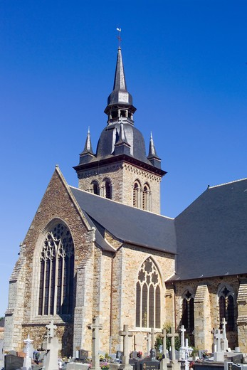 Stock Photo: 4285-8356 FRANCE BRITTANY SAINT-MEEN-LE GRAND CHURCH AND TOWER 12TH Century