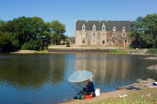 FRANCE BRITTANY PAIMPONTBROCELIANDE FOREST COMPER CASTLE AND VIVIAN'S LAKE AND ANGLER : Stock Photo