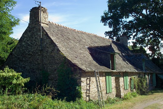 Stock Photo: 4285-8376 FRANCE BRITTANY PAIMPONTBROCELIANDE FOREST LES FORGES WORKER'S COTTAGE