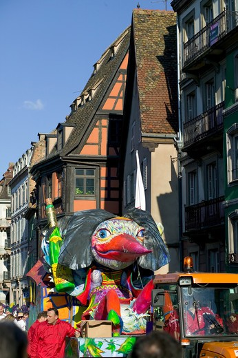 Stock Photo: 4285-8391 FRANCE ALSACE STRASBOURG CARNIVAL PARADE SATIRICAL FLOAT