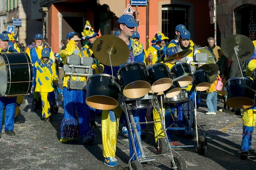 Stock Photo: 4285-8410 FRANCE ALSACE STRASBOURG CARNIVAL PARADE DRUMS MARCHING BAND