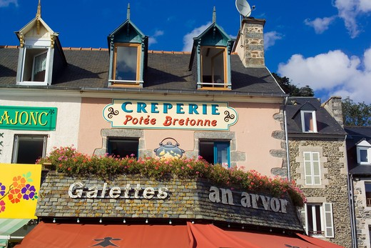 Stock Photo: 4285-8621 FRANCE BRITTANY BINIC WATERFRONT PANCAKE RESTAURANT