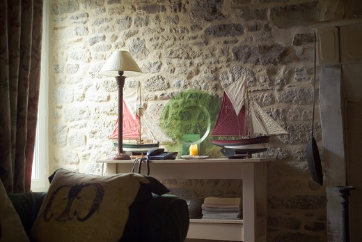 Stock Photo: 4285-8627 FRANCE BRITTANY HOUSE INTERIOR WITH SAILBOAT MODELS