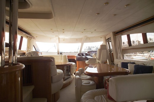 Stock Photo: 4285-8632 FRANCE BRITTANY INTERIOR OF A PRIVATE LUXURY YACHT