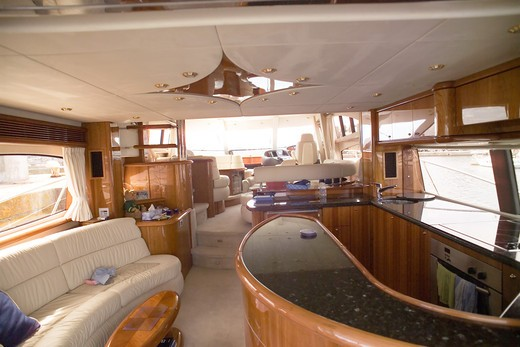 Stock Photo: 4285-8637 FRANCE BRITTANY BAR AND LOUNGE OF A PRIVATE LUXURY YACHT