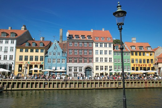 Stock Photo: 4285-9169 STREET LAMP ANCIENT HOUSES AND WATERFRONT CAFE TERRACES NYHAVN NEW HARBOUR COPENHAGEN DENMARK