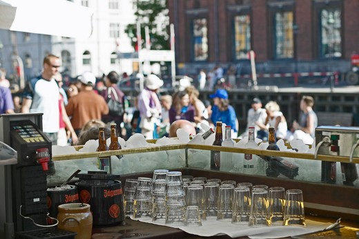 Stock Photo: 4285-9239 WATERFRONT CAFE TERRACE BAR WITH COLD DRINKS AND BEER TAP NYHAVN HARBOUR COPENHAGEN DENMARK