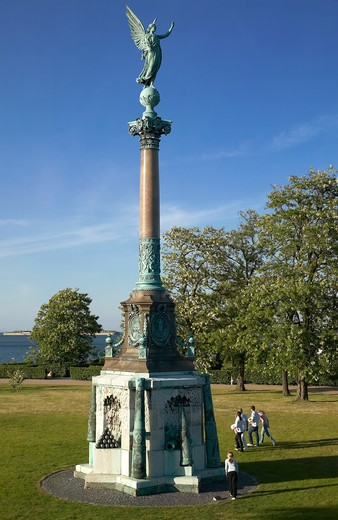 Stock Photo: 4285-9287 MONUMENT COLUMN WITH VICTORY LADY FAMOUS GENIUS ON TOP BY VILHELM DAHLERUP AND FERDINAND EDVARD RING 1880 COPENHAGEN DENMARK
