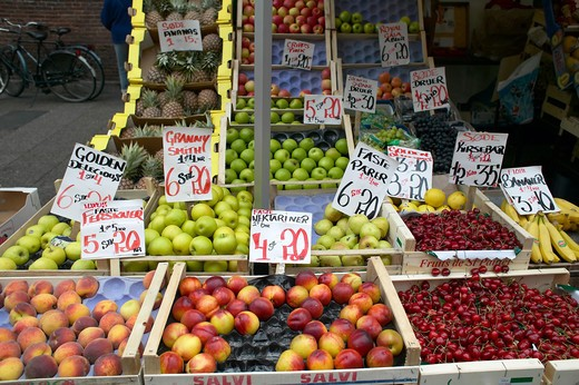 Stock Photo: 4285-9365 FRUIT MERCHANT STALL COPENHAGEN DENMARK