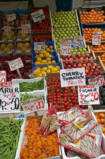 FRUIT MERCHANT STALL COPENHAGEN DENMARK : Stock Photo