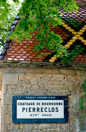 Stock Photo: 4285-9802 PIERRECLOS CASTLE 14th Century HISTORICAL MONUMENT SIGN MACONNAIS WINE COUNTRY BURGUNDY FRANCE