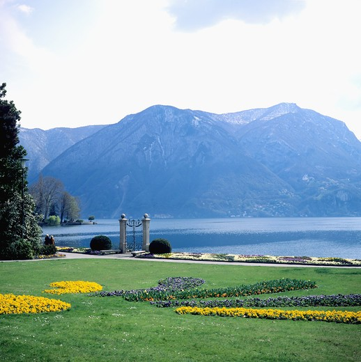Stock Photo: 4285-9845 PARCO CIVICO PARK AND LAKE LUGANO TESSIN SWITZERLAND