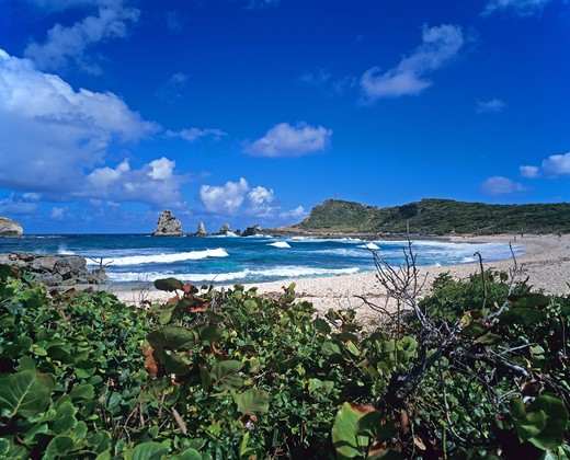 POINTE DES CHATEAUX CAPE TROPICAL BEACH AND SEA GUADELOUPE FRENCH WEST INDIES : Stock Photo