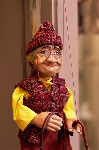 Stock Photo: 4285R-24566 Traditional Folklore Puppet, Prague, Old Town, Czech Republic