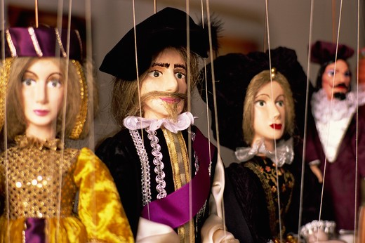 Traditional Folklore Puppets, Old Town, Cesky Krumlov, Czech Republic : Stock Photo